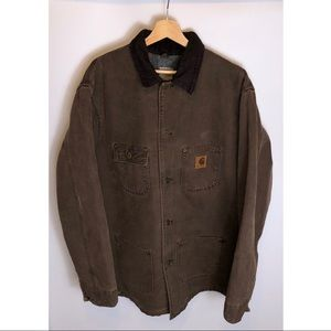 Mens Carhartt button down coat Brown Sz Large Tall